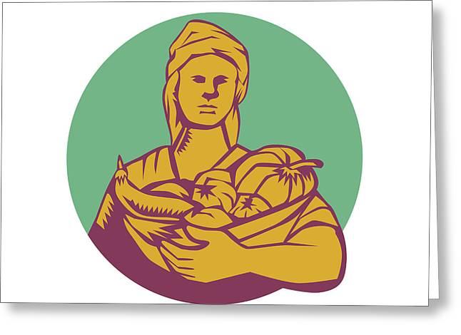 Female Organic Farmer Basket Harvest Circle Woodcut Greeting Card by Aloysius Patrimonio