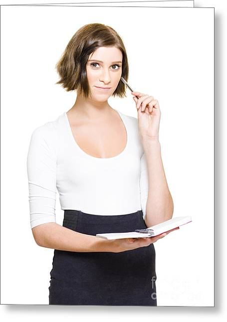Female Pa Penning Down Work Schedule In Diary Greeting Card by Jorgo Photography - Wall Art Gallery