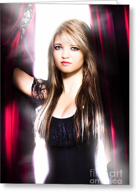 Female Performer Behind The Stage Curtain Light Greeting Card by Jorgo Photography - Wall Art Gallery