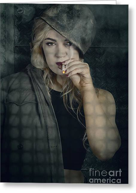 Female Pinup Soldier Smoking Cigarette In Foxhole Greeting Card by Jorgo Photography - Wall Art Gallery