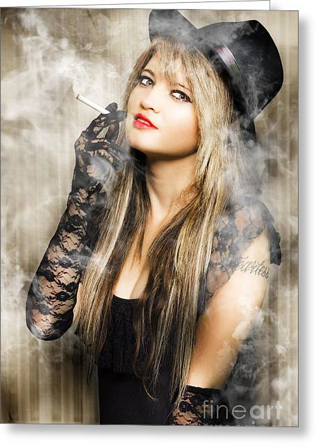 Female Retro Pinup Model With Smoke Greeting Card by Jorgo Photography - Wall Art Gallery