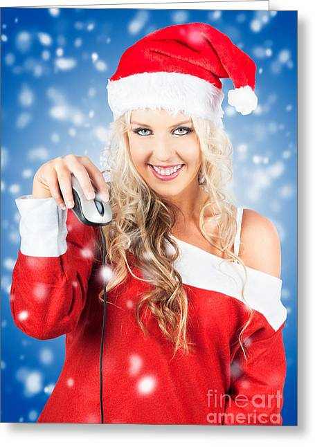 Female Santa Claus Christmas Shopping Online Greeting Card by Jorgo Photography - Wall Art Gallery