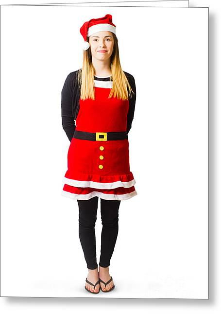 Female Santas Little Helper On White Background Greeting Card by Jorgo Photography - Wall Art Gallery