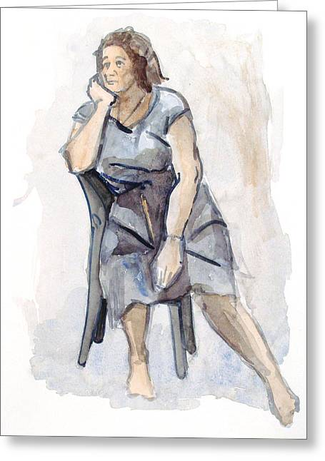 Female Seated Greeting Card by Nelson Caramico