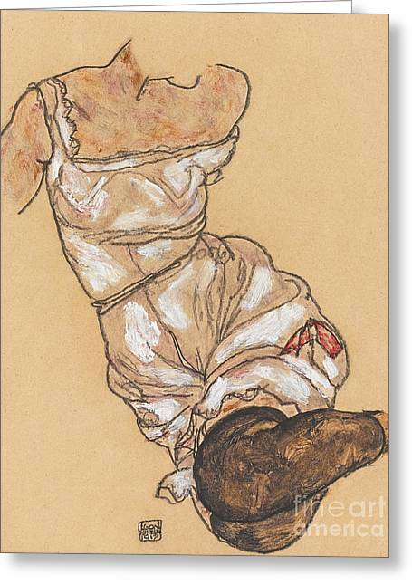 Female Torso In Lingerie And Black Stockings Greeting Card by Egon Schiele
