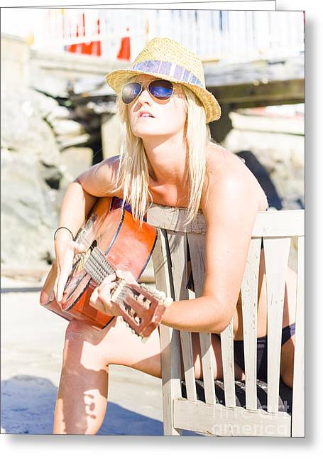 Female Traveling Guitarist Playing Music Greeting Card by Jorgo Photography - Wall Art Gallery