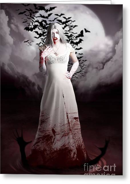 Female Vampire During Twilight Full Moon Horror Greeting Card by Jorgo Photography - Wall Art Gallery
