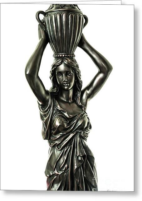 Female Water Goddess Bronze Statue 3288a Greeting Card