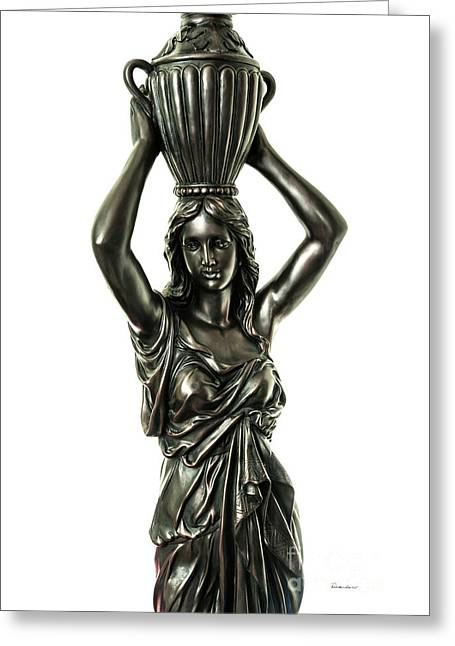 Female Water Goddess Bronze Statue 3288a Greeting Card