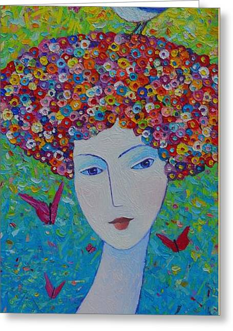 Femininity Spring Portrait Contemporary Abstract Impressionism Knife Oil Painting Ana Maria Edulescu Greeting Card