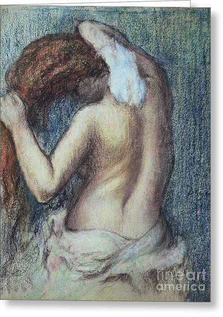 Feminine Pastels Greeting Cards - Femme a sa Toilette Greeting Card by Edgar Degas