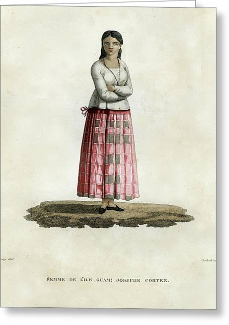 Greeting Card featuring the drawing Femme De L Ile Guam Josephe Cortez by Jacques Arago