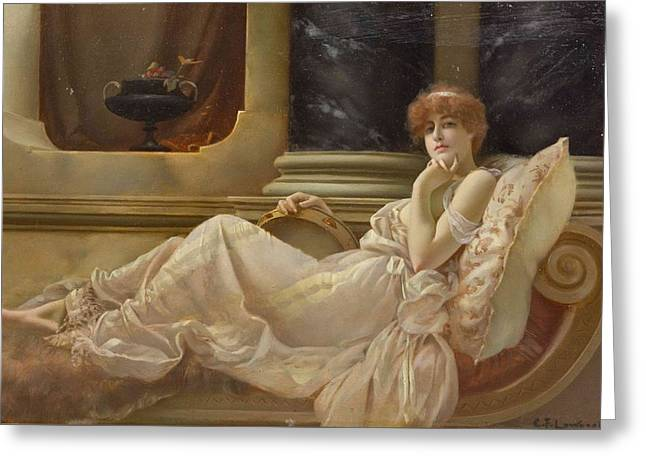 Femme Sur La Chaise Greeting Card by Charles Frederick