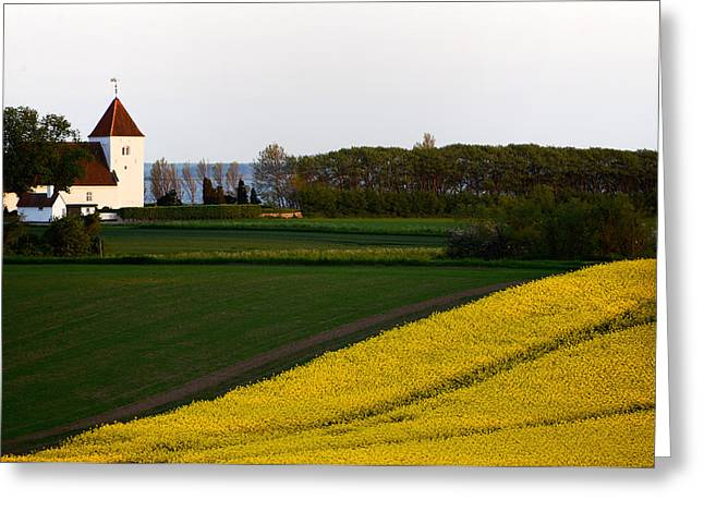 Femoe Fields And Church Greeting Card by Eric Nielsen