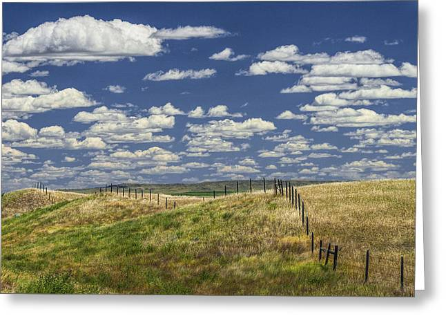 Fence Along The Rolling Hills By The Roadway Greeting Card by Randall Nyhof