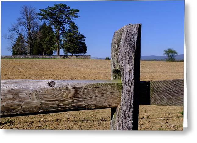 Fence And Farm On A Civil War Battlefield In Antietam Creek Mary Greeting Card