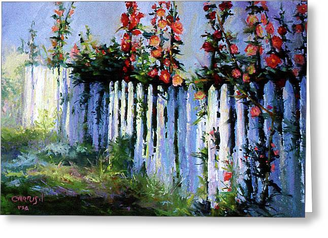 Fence And Flowers Greeting Card by David Garrison
