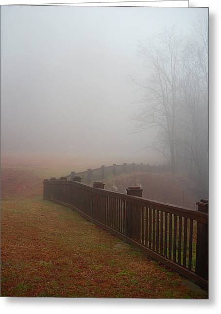 Fence And Fog Greeting Card by Beebe  Barksdale-Bruner