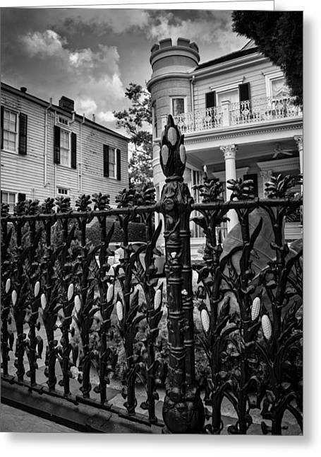 Fence At Cornstalk Hotel In Black And White Greeting Card