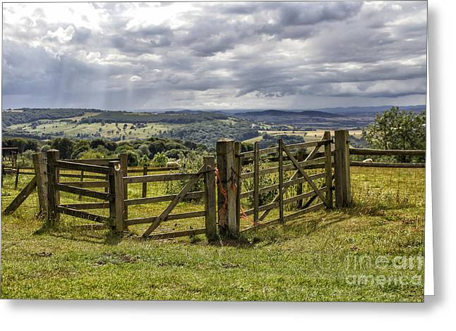Fence In Beautiful English Landscape Greeting Card