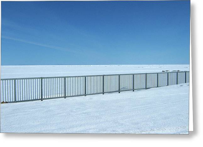 Fence In Snow Greeting Card