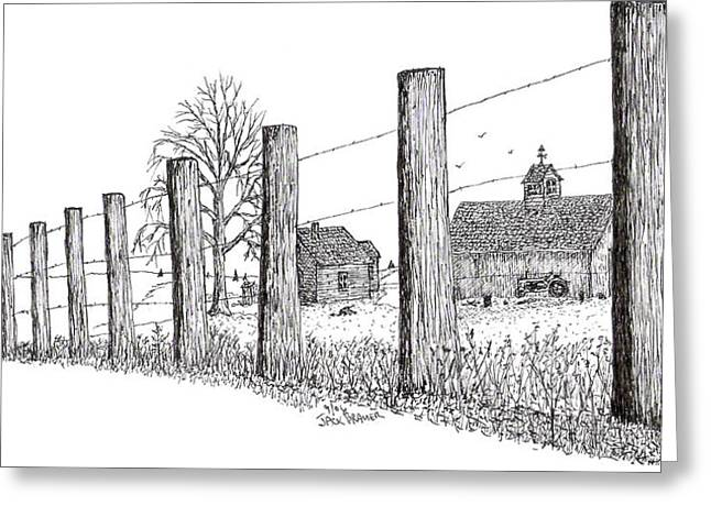 Greeting Card featuring the drawing Fence Line 1 by Jack G  Brauer