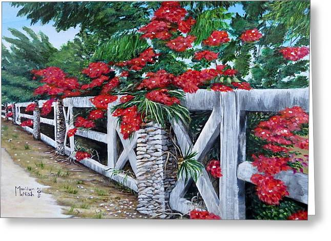 Fence Line Greeting Card by Marilyn McNish