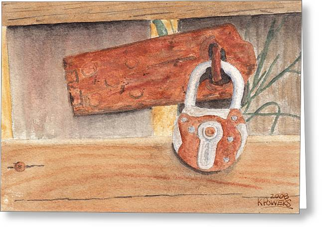Fence Lock Greeting Card by Ken Powers
