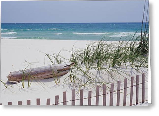 Fence On The Beach, Alabama, Gulf Greeting Card by Panoramic Images