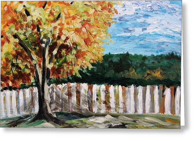 Greeting Card featuring the painting Fence Under The Maple by Mary Carol Williams