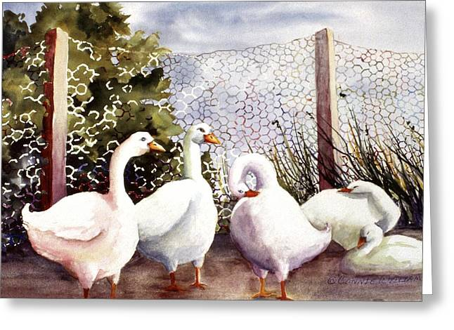 Fenced In Quackers Greeting Card