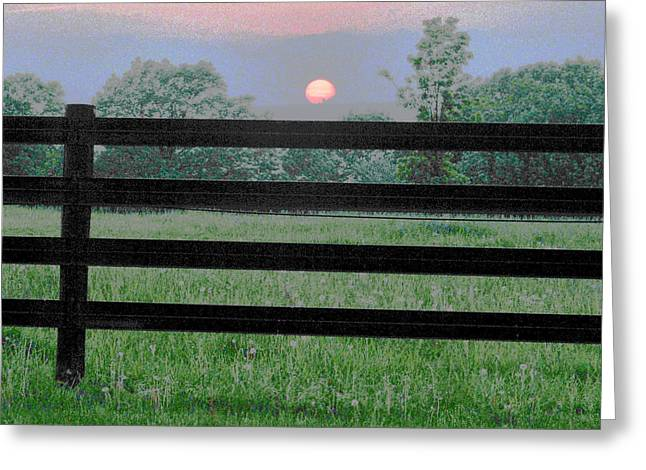Fenced Sunset 2 Greeting Card by Brian Foxx