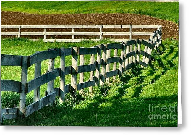 Fences And Shadows Greeting Card by Julie Dant