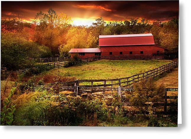 Fences At Sunset Greeting Card