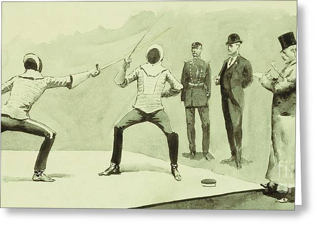 Fencing At Dickel's Academy Greeting Card by Frederic Remington