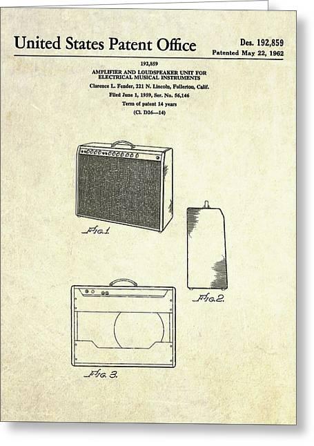 1962 Fender Amp Patent Art Greeting Card