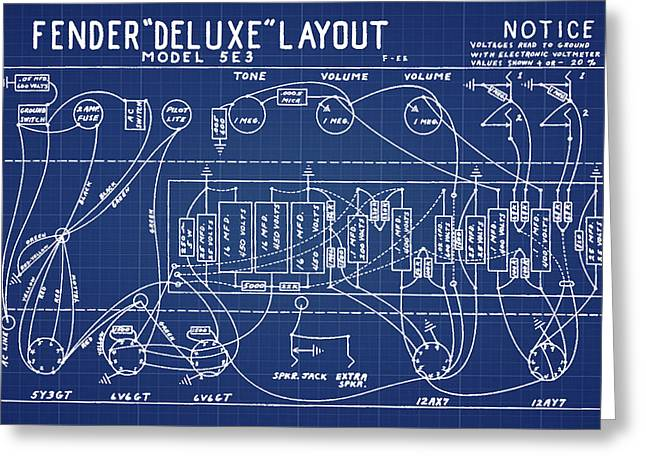 Fender Deluxe Layout Model 5e3 In Blue Print Greeting Card