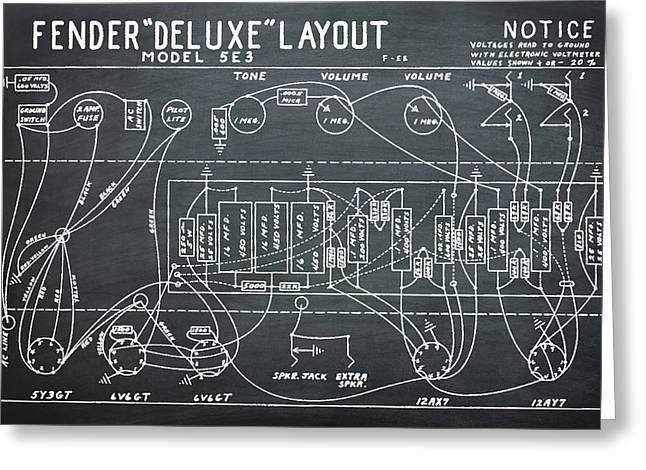 Fender Deluxe Layout Model 5e3 In Chalk Greeting Card