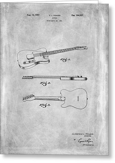 Fender Guitar Patent From 1951 Greeting Card by Mark Rogan