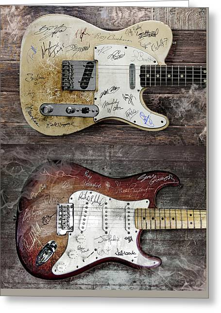 Fender Guitars Fantasy Greeting Card by Mal Bray