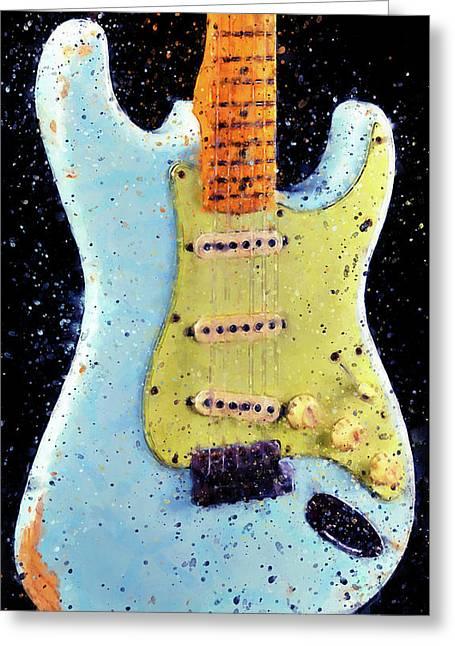 Fender Stratocaster - 02 Greeting Card by Andrea Mazzocchetti