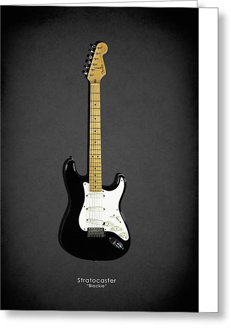 Fender Stratocaster Blackie 77 Greeting Card by Mark Rogan