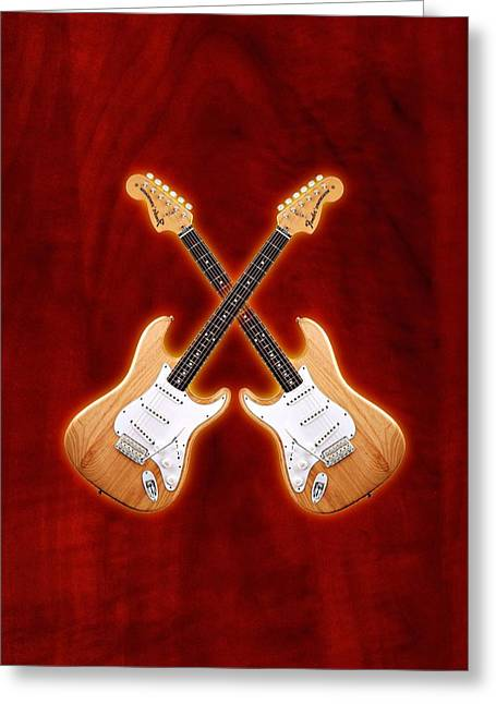 Fender Stratocaster Natural Color Greeting Card by Doron Mafdoos