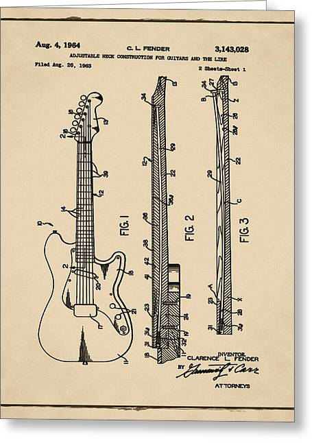 Fender Stratocaster Patent 1964 Sepia Greeting Card by Bill Cannon