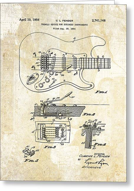 Fender Stratocaster Tremelo Patent Art IIi Greeting Card by Gary Bodnar