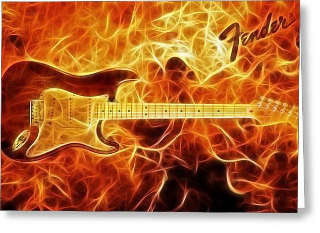 Fender Stratocaster Greeting Card by Taylan Apukovska