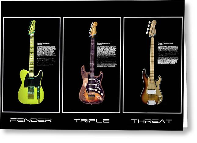Fender Triple Threat Greeting Card by Peter Chilelli