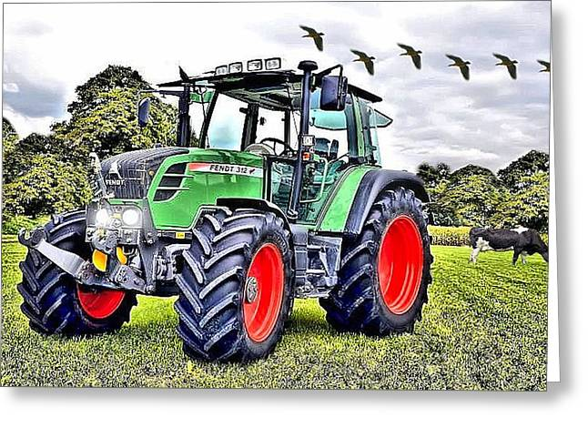 Fendt 312 Vario Tractor Greeting Card by Thomas Schmidt