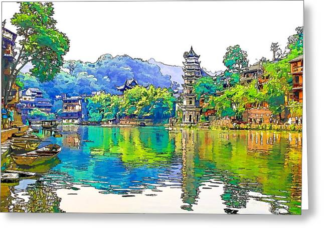 Fenghuan Ancient Town 4 Greeting Card by Lanjee Chee