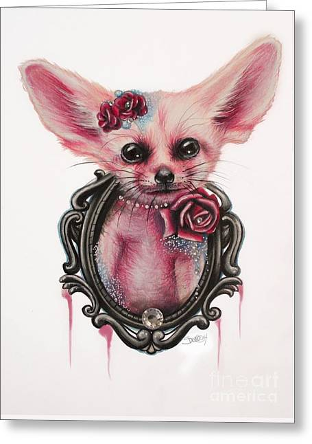Greeting Card featuring the drawing Fennec Fox by Sheena Pike
